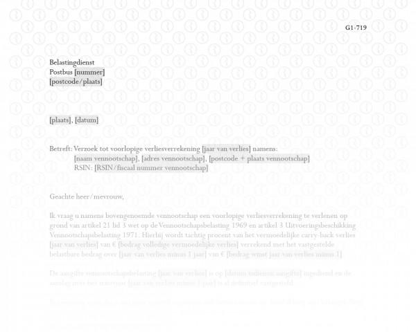 Verzoek voorlopige verliesverrekening vennootschapsbelasting RB020