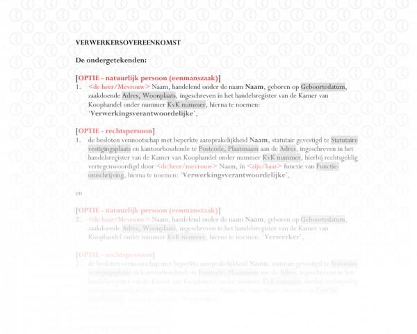 Verwerkersovereenkomst (verwerker) RB501b
