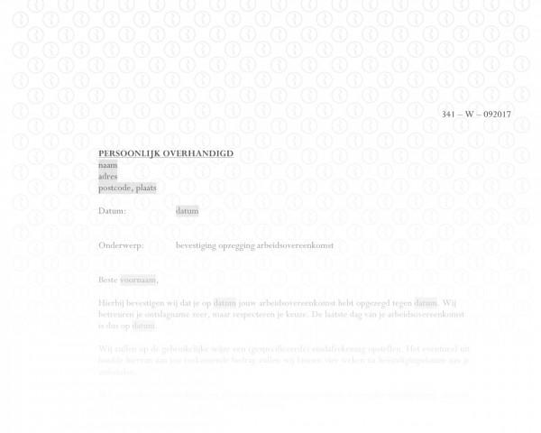 Bevestiging opzegging arbeidsovereenkomst door werknemer RB014