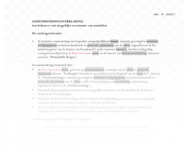 Geheimhoudingsverklaring (overname) RB012