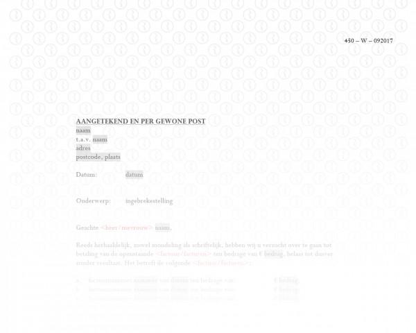 Ingebrekestelling (geldvordering) RB011