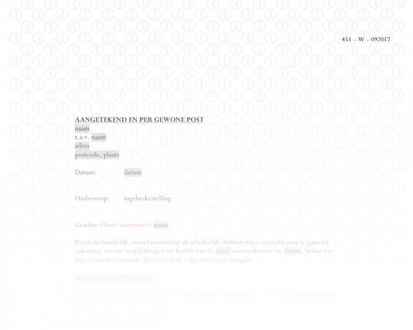Ingebrekestelling (prestatie) RB011