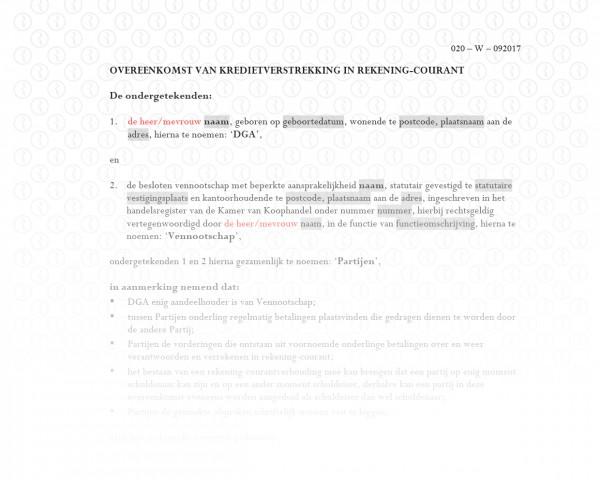 Rekening-courant overeenkomst (DGA - bv) RB006